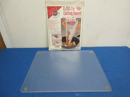 """Rectangular clear glass cutting board, 12x15""""& new plastic cutting board in pkg"""