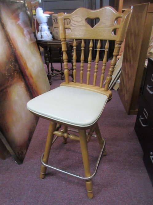 """Oak wooden swivel stool with back and ivory vinly seat-25"""" high"""