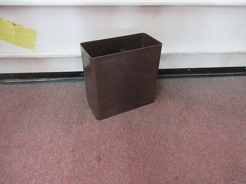 "Brown hard plastic rectangular office style waste basket, 13"" tall"