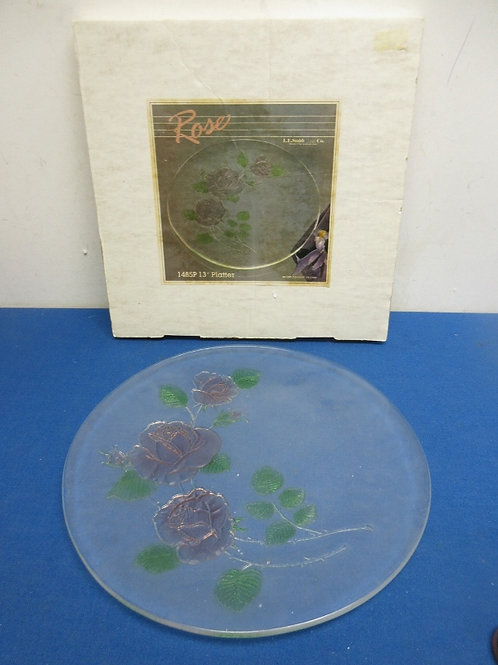 """Glass 13"""" platter with colored rose design"""