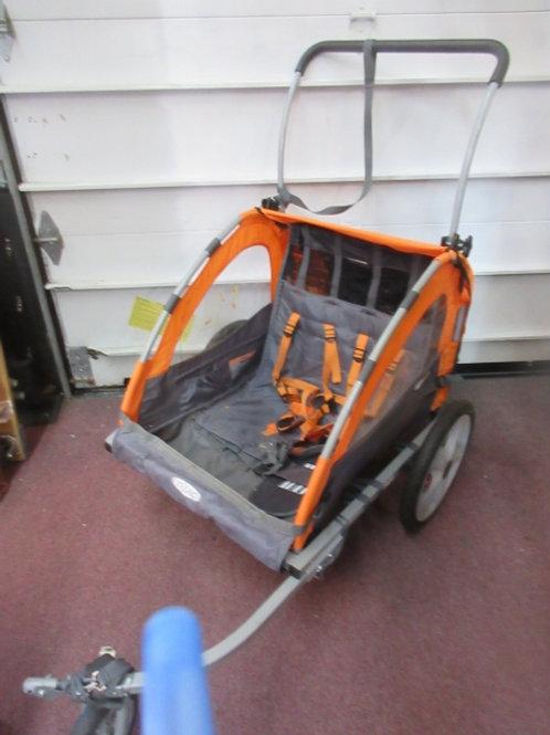 InStep quick n ez double bike trailer - w/optional handle - orange and gray