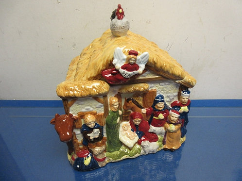 Ceramic nativity scene shaped large cookie jar