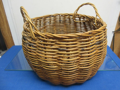 """Large round woven basket with handles, 17"""" diameter,12"""" high"""