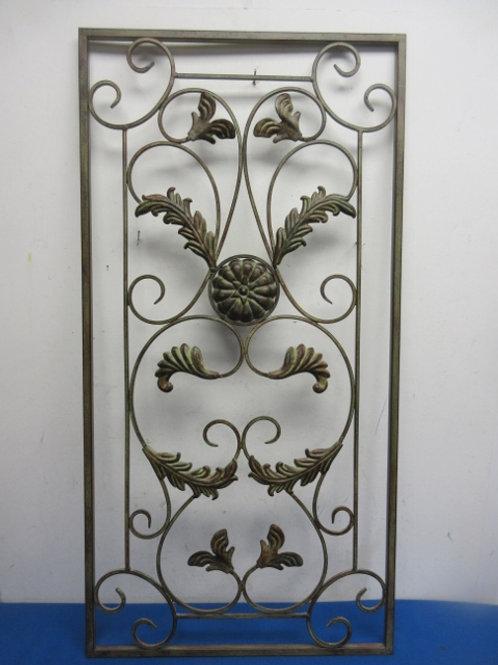 Brown/green metal ornate vertical leaf wall art - 17x34