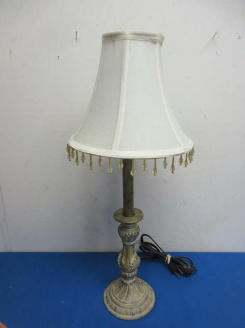 """Metal base table lamp with white beaded shade, 21""""high"""