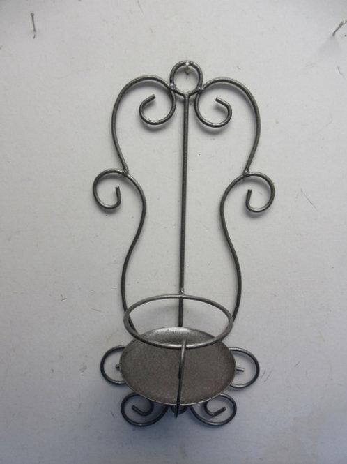 "Large gray metal pillar candle holder/wall hanging, 19"" tall"