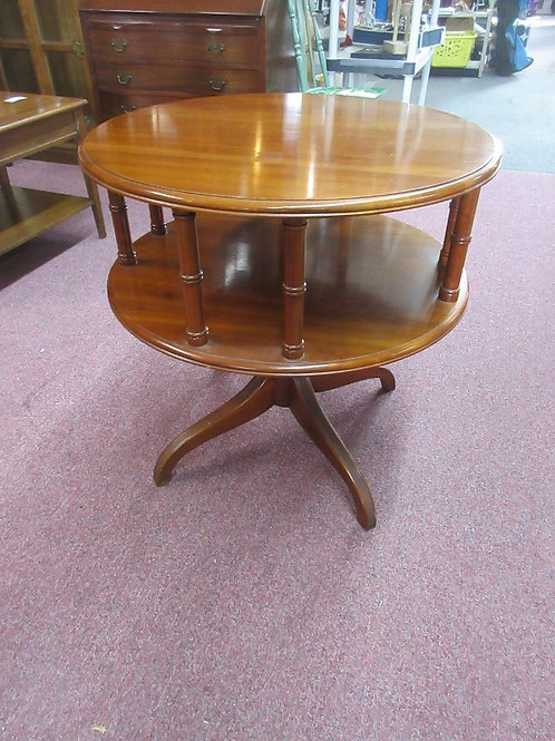 """Cherry 2 tier round accent table-28 dia x 28"""" high"""
