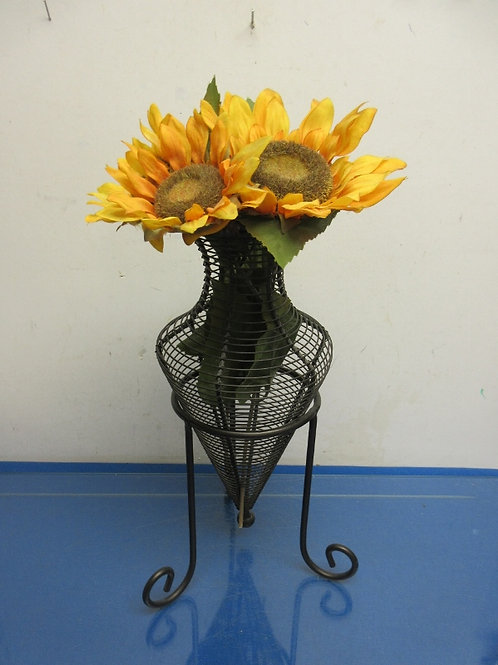 "Black metal wire vase on a stand with sunflowers 18"" high"