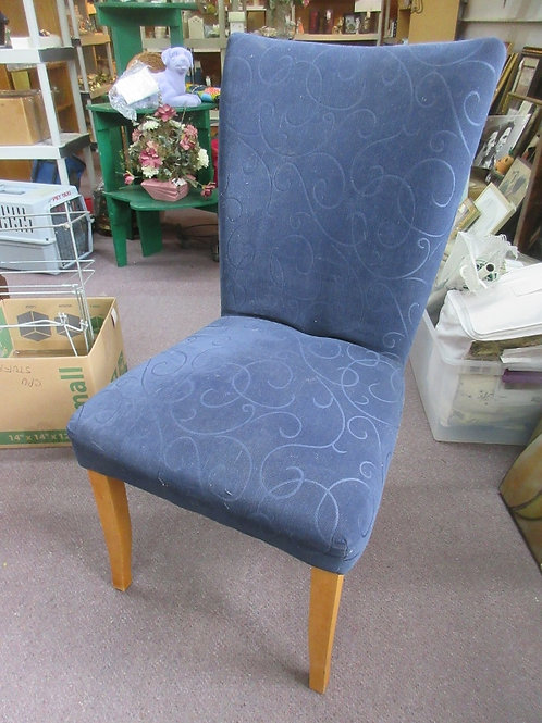 High back navy blue armless upholstered chair, 2 available