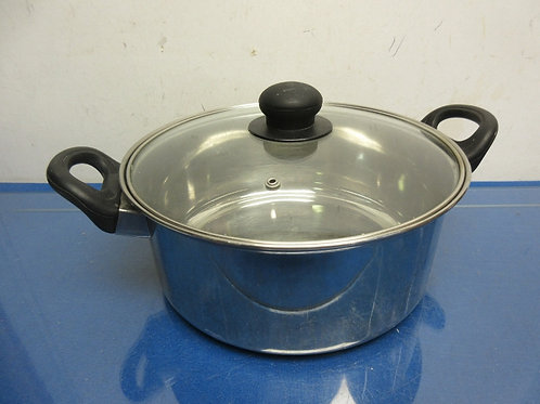 Stainless steel pot with 2 handles & glass lid