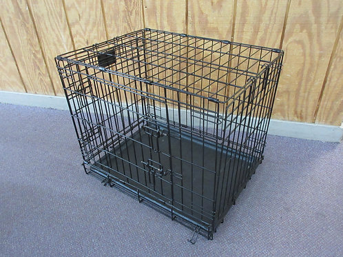 """Life Stages black metal animal crate with 2 doors and tray, 18x24x20""""high"""