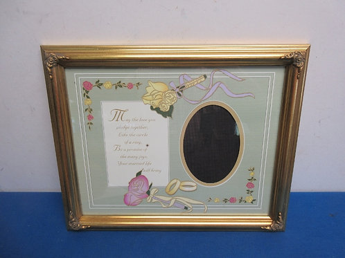 """Gold photo frame for wedding picture with saying 12x16"""""""