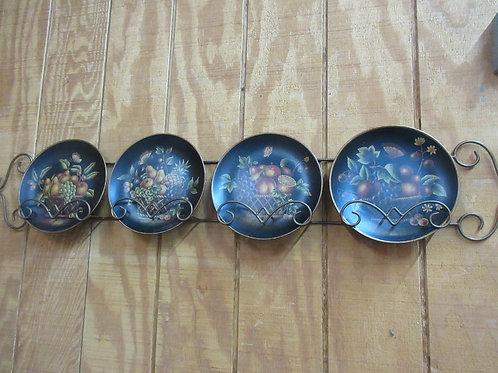 "Bronze tone horizontal plate rack, hold 4 plates, 58""-w/4 fruit plates"