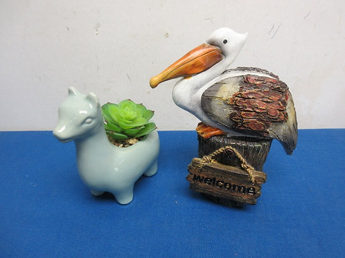 Pair of small statues, pelican on log and small ceramic animal planter
