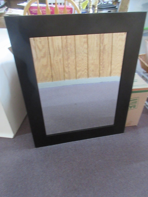 Beveled wall mirror with wide black wood frame - 29.5x36