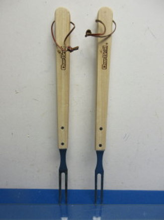 Pair of char broil long wooden handle bbq forks