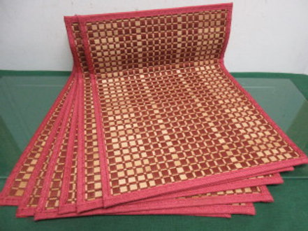Set of 6 placemats, burgundy & beige bamboo