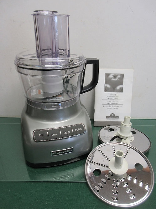 Kitchen Aid heavy duty gray food processor with extra blades