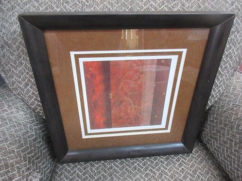 "Rust & brown modern wall art with white mat, black frame, 16x16"""