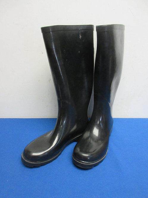 Black rain boots, size 8