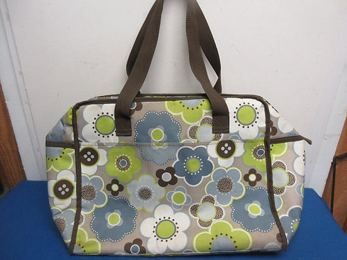 Large brown floral insulated bag