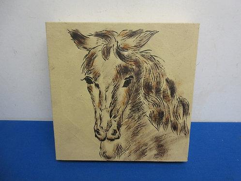 "Distressed stretched vinyl print of art, 11x11"""