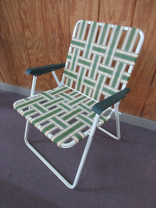 Aluminum Frame patio chair with vinyl straps - green -