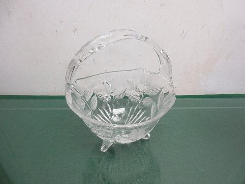 "Cut glass basket w/glass handle 7""dia x 8""high"