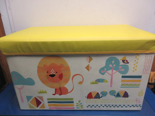 "Vinyl over cardboard animal design toy box w/yellow lid 12x24x14""high"