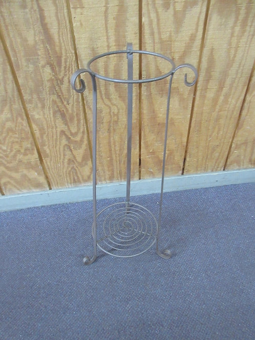 """Copper metal plant stand with small shelf on bottom, 27"""" tall"""