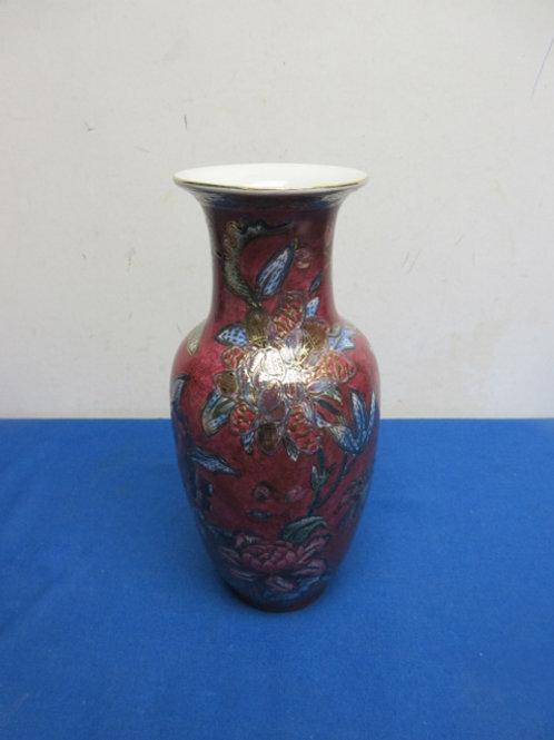 """Burgundy asian jar vase, 10"""" high"""