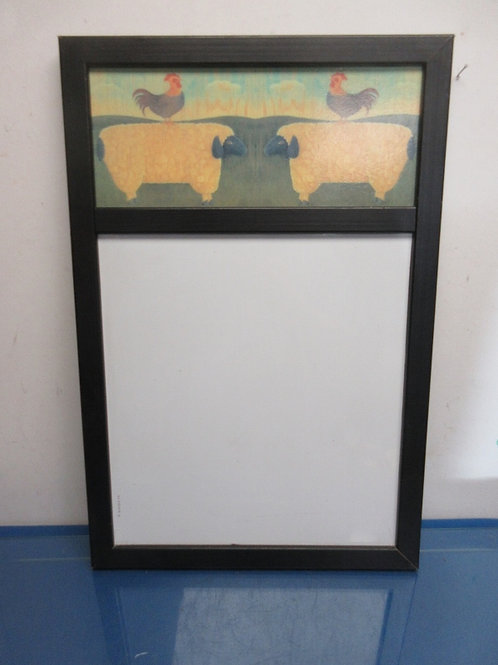 Wall mount white board with farm animals in black frame