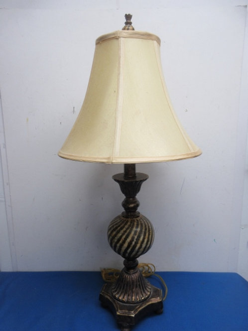 """Faux marble and metal table lamp with tan bell style shade, 29"""" tall"""