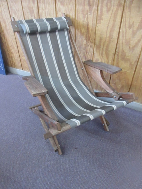 Cabana wooden folding chair with brown nylon sling seat