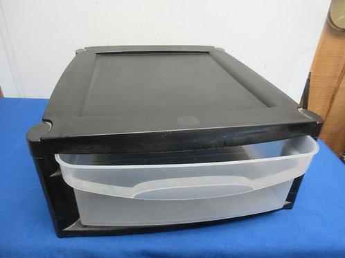 Single black and clear plastic drawer organizer