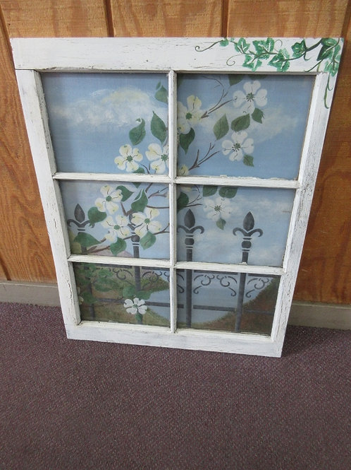 """Hand painted blossoming tree in an antique window frame 23x29"""""""