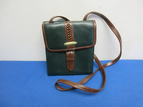 Small Liz Caiborne hunter green & brown cross body purse