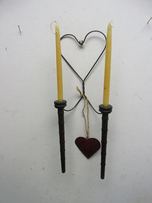 Vintage 2 pillar hanging candle holder with heart designs