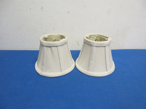 Pair of small ivory chandiler size lamp shades