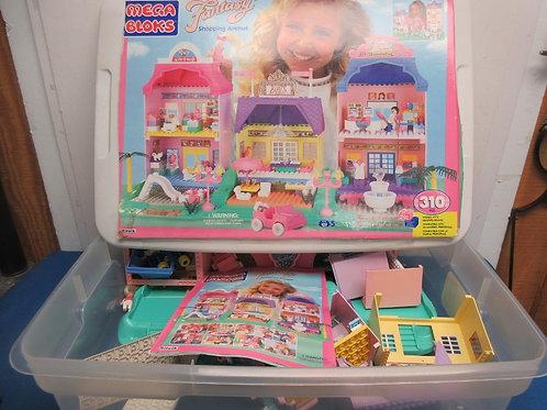 "Mega Bloks, ""fantasy shopping ave."" building blocks in large container"