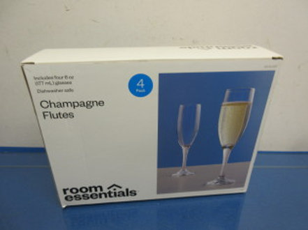 """Room Essentials"" box of 4 champagne flutes,"