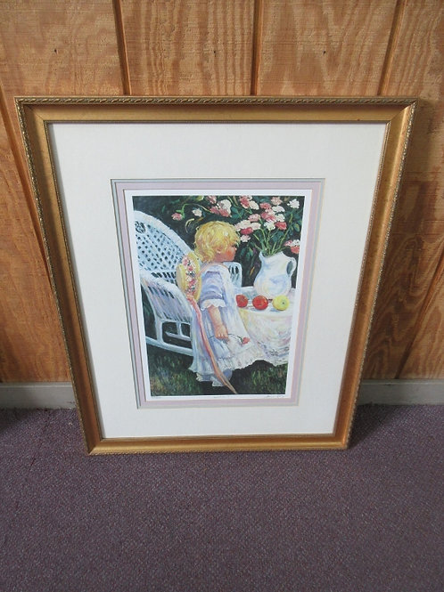 """Numbered print by Irene Borg - """"Amber"""" with multiple mat layers in gold frame -"""