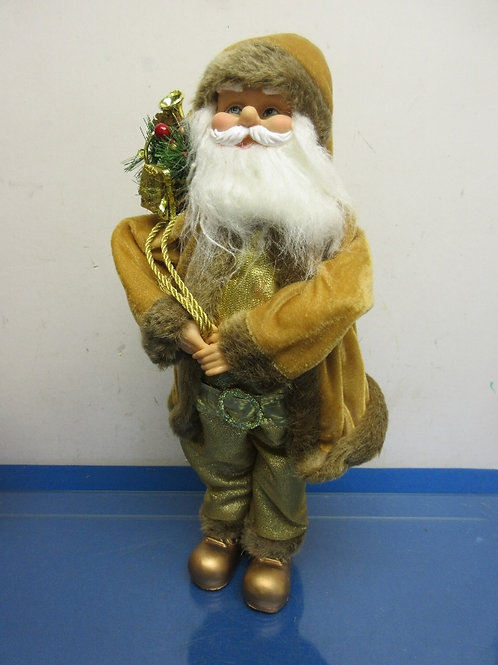 "Gold Old World Santa with sack 18"" high"