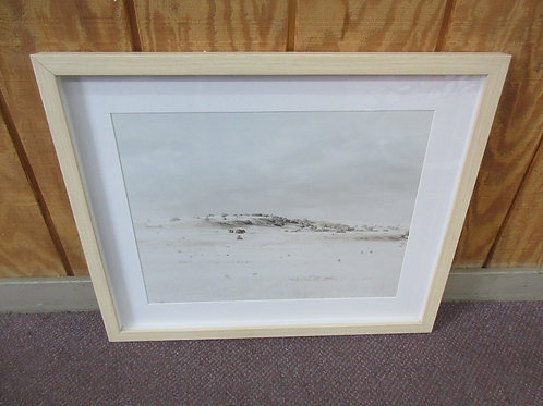 Desolate country scene, white mat natural wood frame 20x24