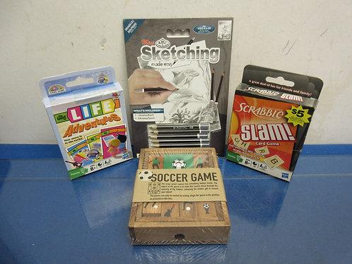 Set of 4 small children's games, mini sketching, scrabble slam, life adventure &