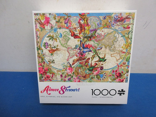 Aimee stewart 1000pc jig saw puzzle - birds, butterflies, and blooms on map - ne