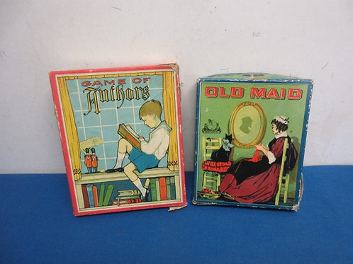 """Pair of vinage card games from the 1950""""s, game of authors, and old maid"""