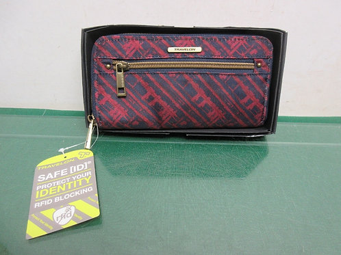Travelon ladies red and blue wallet with RFID blocking protection