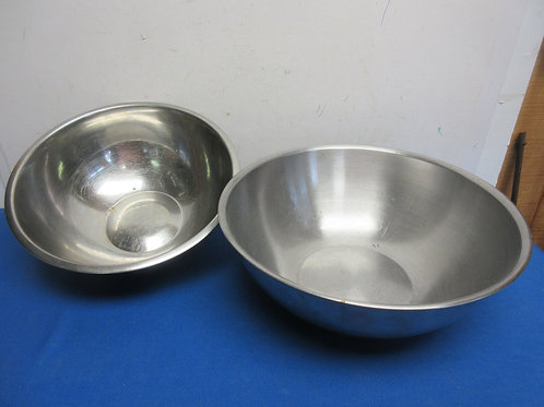 Pair of Large stainless mixing bowls