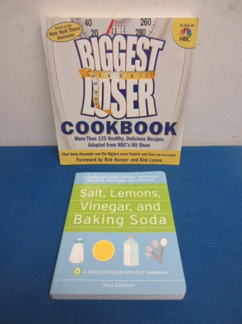 The Biggest Loser cookbook & Recycle hand book, salt,lemon,vinegar & baking soda